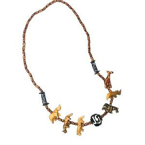 Jewelry - Wooden Tribal Animal Bead Necklace
